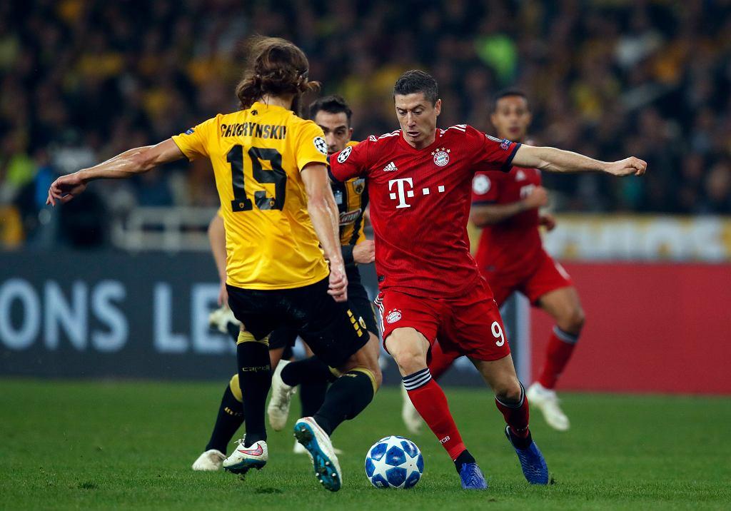 Robert Lewandowski w meczu AEK Ateny - Bayern Monachium