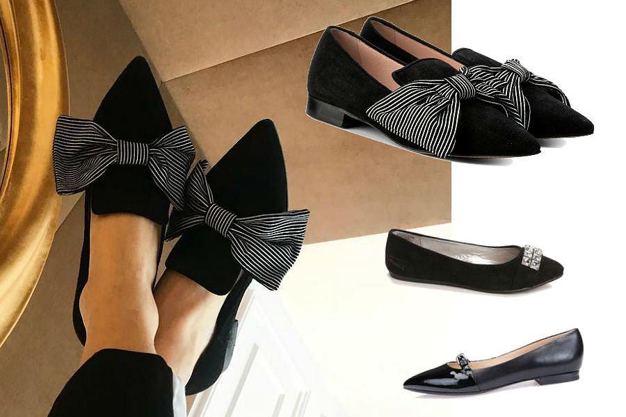 czarne pantofle z kokardką