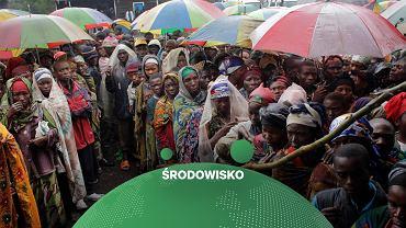Uchodźcy wewnętrzni w Kongu czekają na rozdanie pomocy żywnościowej.  Wg  World Food Program połączenie kryzysu klimatycznego, konfliktów i pandemii wpędza miliony ludzi w głód