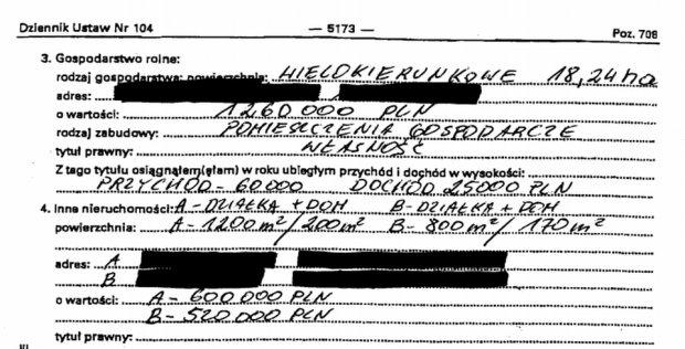 Oświadczenie majątkowe Jarosława Kalinowskiego
