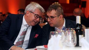 Ryszard Czarnecki z synem Przemysławem na gali z okazji dwudziestolecia WTS Sparty Wrocław