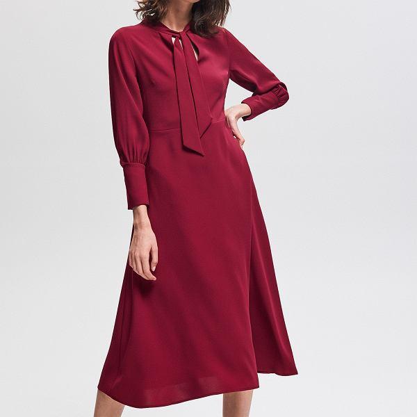 Bordowa sukienka midi