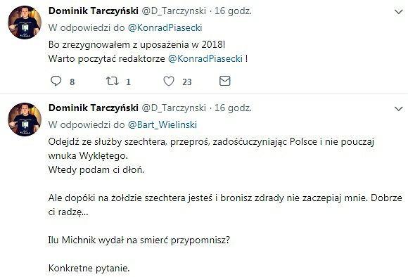 Tweety posła Tarczyńskiego do dziennikarza 'GW'