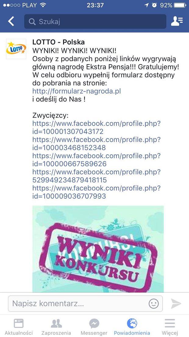 Fałszywy profil 'LOTTO Polska'