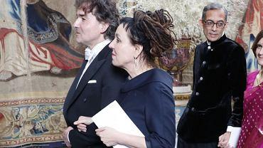 Olga Tokarczuk z mężem