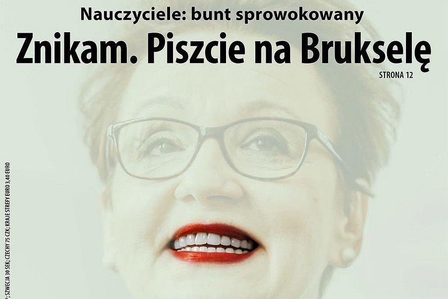 Anna Zalewska została bohaterką okładki najnowszej 'Polityki'. 'Znikam. Piszcie na Brukselę' - głosi napis