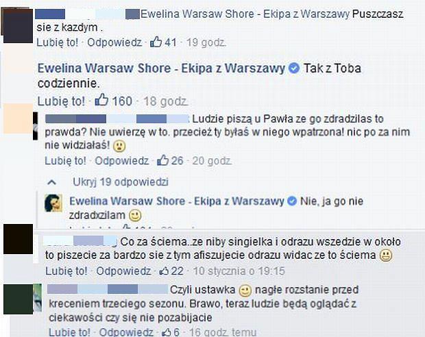 Komentarze na profilu Ewelina Warsaw Shore - Ekipa z Warszawy