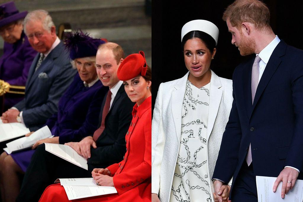 królowa z rodziną, Meghan Markle, książę Harry