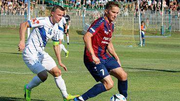 4 sierpnia 2018 r., piłkarskie derby Gorzowa w trzeciej lidze: Warta Gorzów - Stilon Gorzów 1:1 (0:0). Z prawej Damian Szałas, z lewej Łukasz Maliszewski
