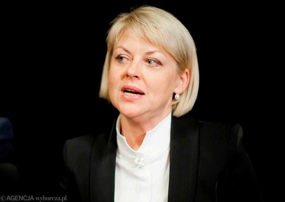 Przewodnicząca Związku Polaków na Białorusi Andżelika Borys podczas spokkania w klubie Fama w Bialymstoku, 2015.