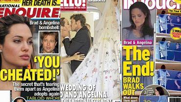 Angelina Jolie i Brad Pitt, najsłynniejsza para świata, rozwodzi się. Przez 12 lat związku byli uwielbiani przez media, które poświęciły im setki okładek i tysiące artykułów. Dzięki tabloidom dowiedzieliśmy się o początku ich romansu i to tabloidy wytropiły pierwsze oznaki kryzysu. Okładki kolorówek to ilustrowana historia tej miłości. Przekonajcie się sami.