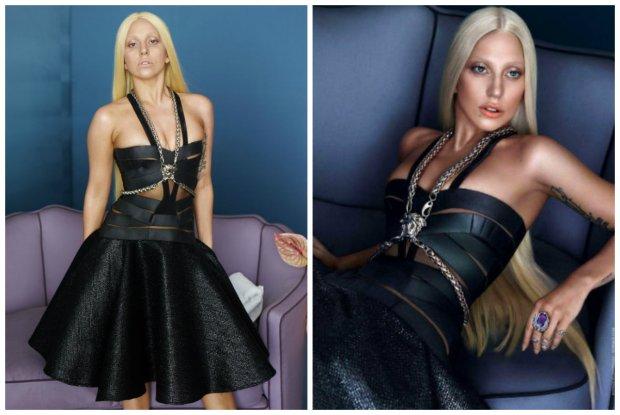 Lady Gaga w kampanii Versace - przed i po retuszu