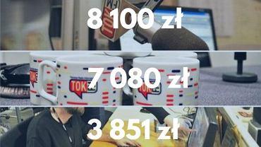 Kwoty wylicytowane na rzecz WOŚP na aukcjach TOK FM