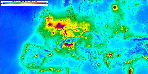Dwutlenek azotu nad Europą