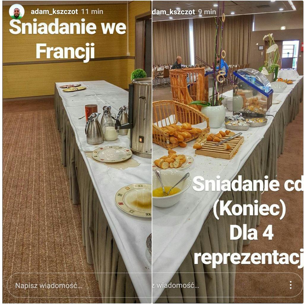 Zdjęcia z Instagrama Adama Kszczota pokazujące posiłek serwowany zawodnikom podczas DME w Lille