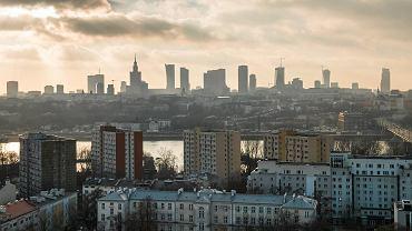 Panorama centrum Warszawy z Katedry Praskiej, 10 grudnia 2015