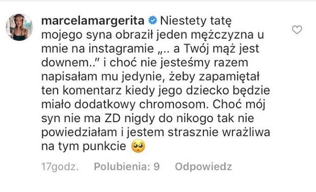 Komentarz Marceli Leszczak na Instagramie