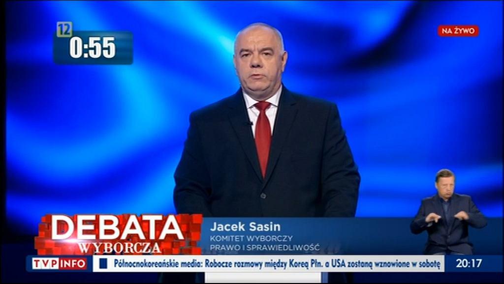 Jacek Sasin podczas 'Debaty Wyborczej' w TVP