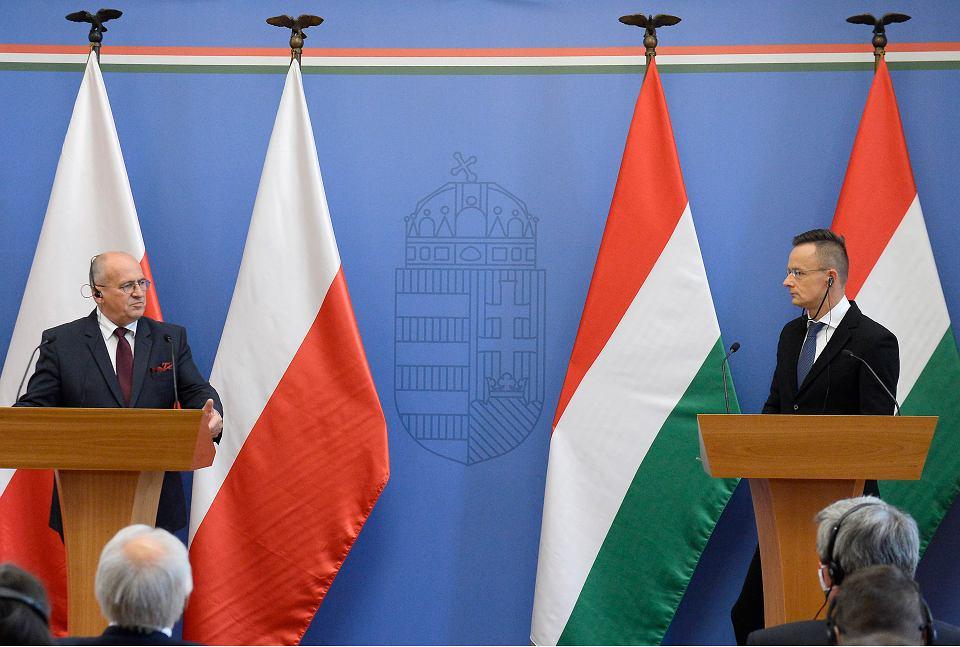 Ministrowie spraw zagranicznych Węgier Peter Szijjarto i Polski Zbigniew Rau, Budapeszt 28.09.2020