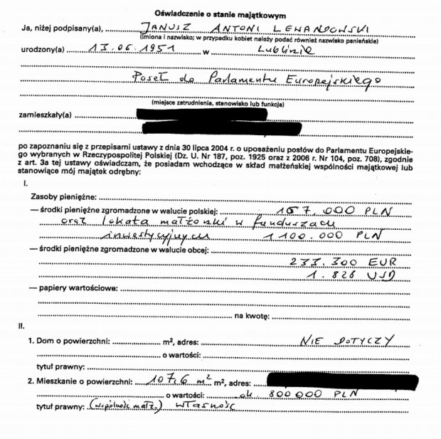 Oświadczenie majątkowe Janusza Lewandowskiego