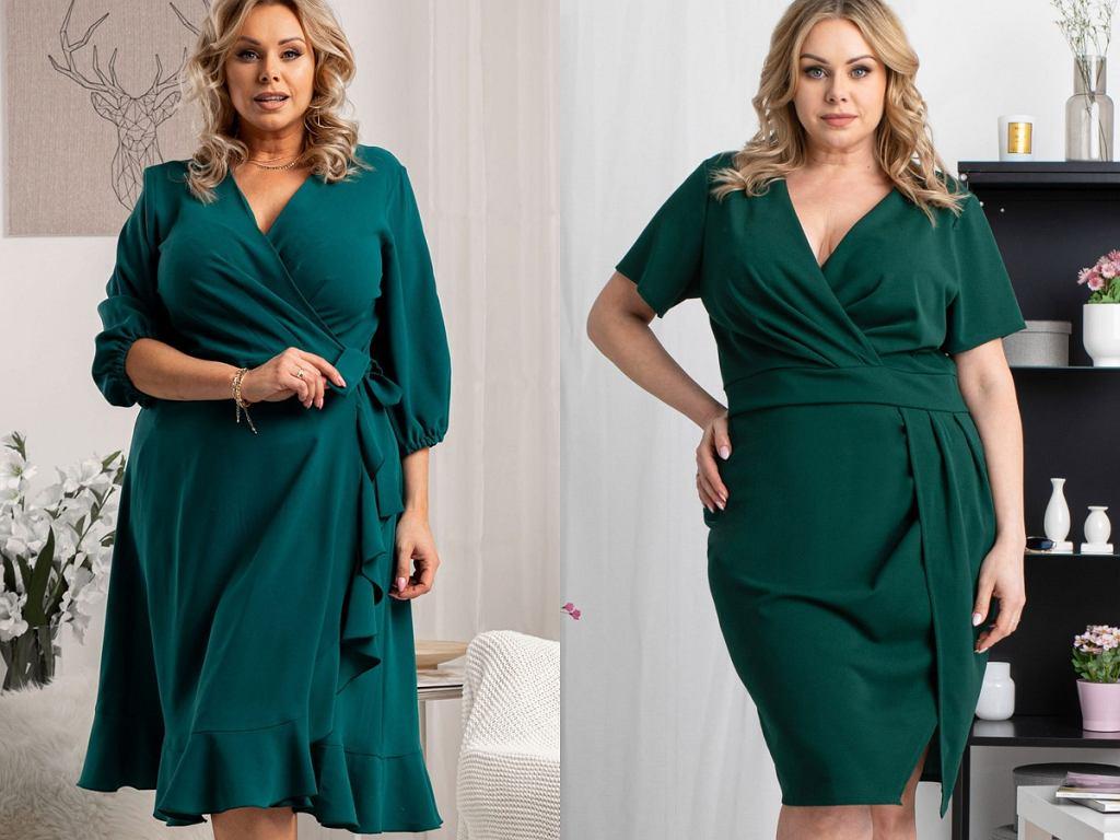 sukienki na co dzień w kolorze butelkowej zieleni