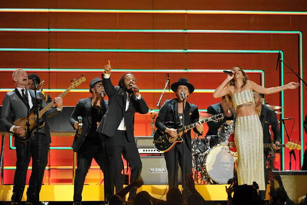 Recording artists Sting, Ziggy Marley, Bruno Mars and Rihanna at the 55th annual Grammy Awards on Sunday, Feb. 10, 2013, in Los Angeles. (Photo by John Shearer/Invision/AP)