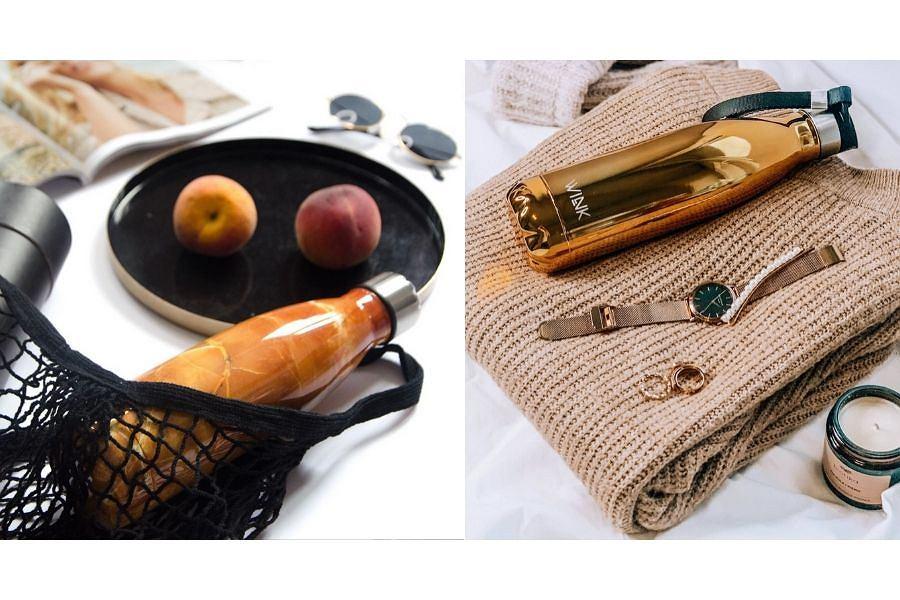 Butelki termiczne marki WINK w kolorze złota i pomarańczowego marmuru
