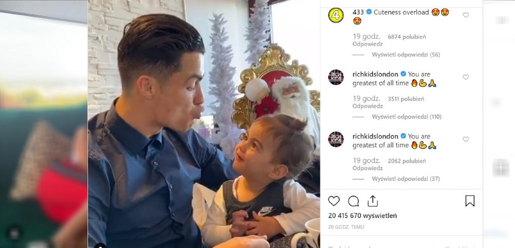 Ronaldo opublikował filmik z córką