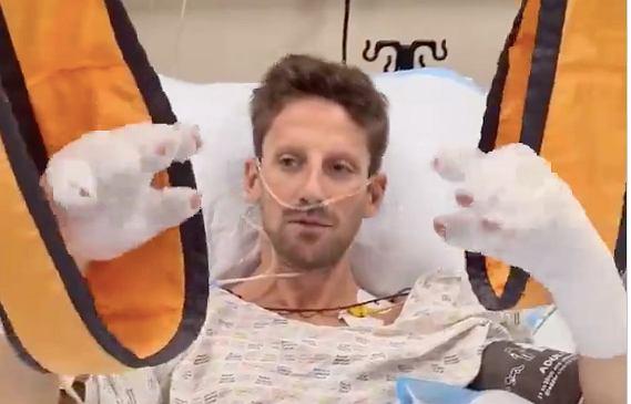 Romain Grosjean - pierwsza wiadomość po wypadku na GP Bahrajnu (Formuła 1). Źródło: formula1.com / Twitter