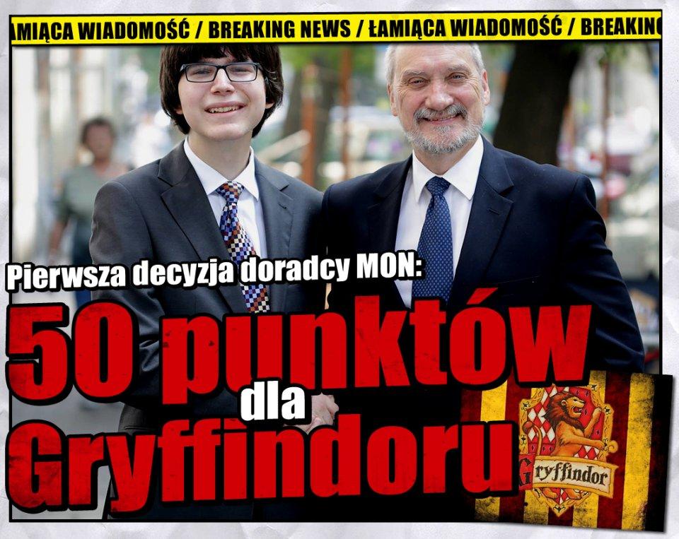 Pierwsza decyzja nowego doradcy MON [Faktoid] - 50 pkt. dla Gryffindoru - Faktoid