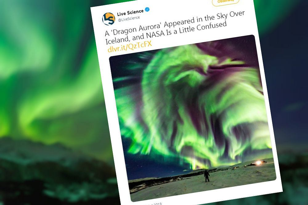 Ogromna 'smocza zorza polarna' pojawiła się nad Islandią