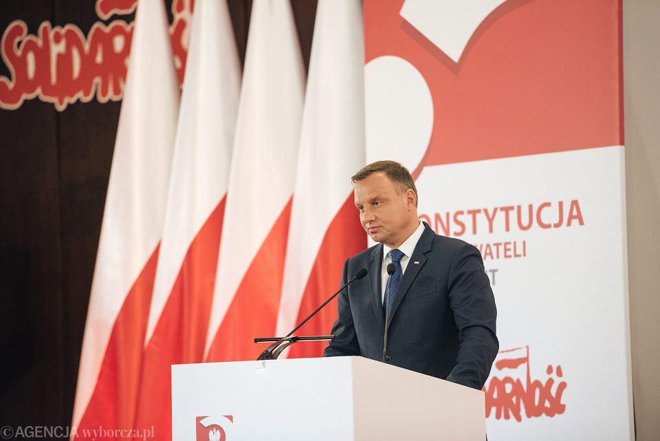 25.08.2017 , Gdańsk . Prezydent Andrzej Duda podczas debaty ' Konstytucja dla obywateli , nie dla elit ? '