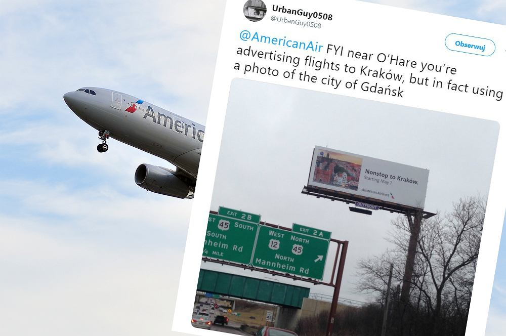 American Airlines promują loty do Krakowa zdjęciem Gdańska