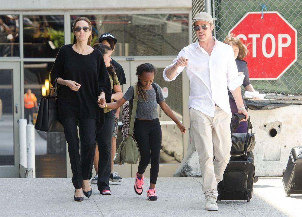Angelina Jolie i Brad Pitt z dziećmi w 2014 roku