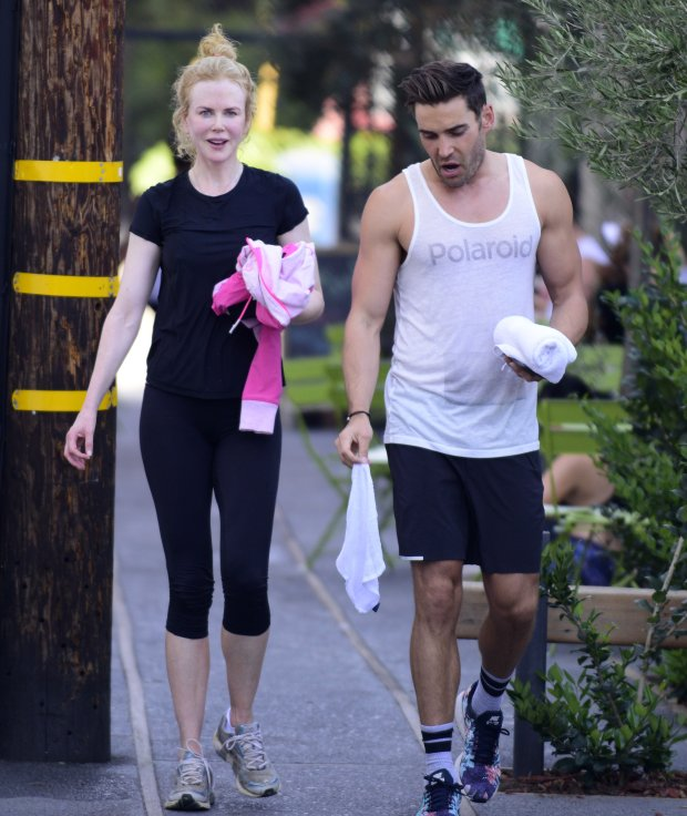 EXCLUSIVE: Australian Actress Nicole Kidman looks radiant as she emerges from a spin class on her 48th birthday with reality tv star Nick Hounslow from E!s hollywood cycle.  Pictured: Nicole Kidman, Nick Hounslow