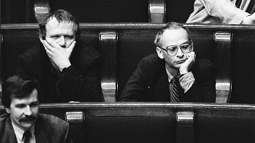 Jan Lityński i Adam Michnik w Sejmie, Warszawa 18.10.1991.