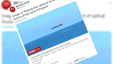 'Lewitujący' statek u wybrzeży Kornwalii
