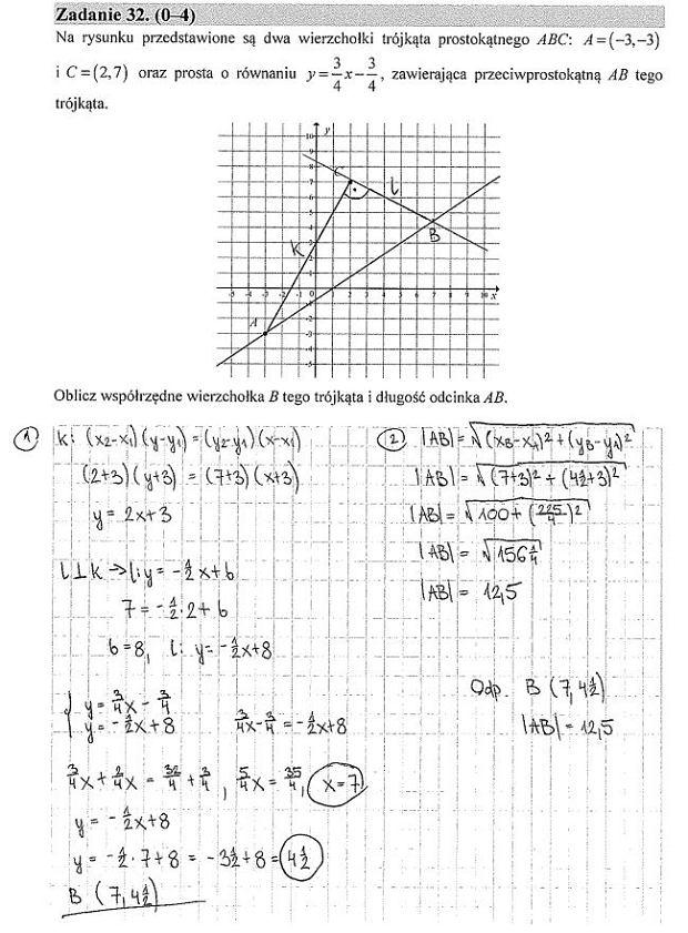 Matura poprawkowa 2016, matematyka. Zad. 32