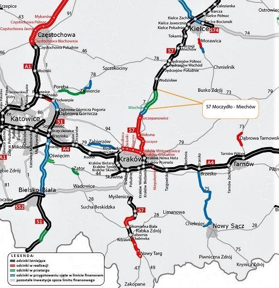 Trasa S7, Moczydło-Miechów