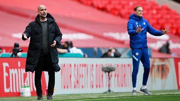Chelsea Londyn - Manchester City. Pep Guardiola (z lewej) i Thomas Tuchel