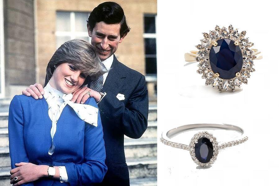 Pierścionek z szafirem i diamentami księżnej Diany