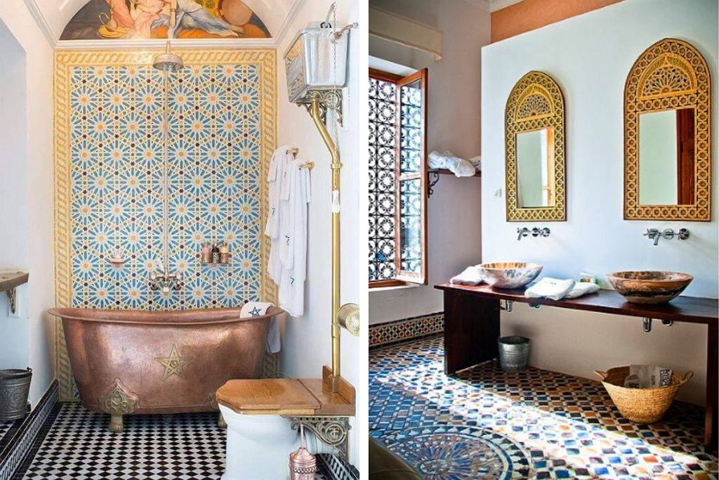 Łazienka w orientalnym stylu pełna barw i wzorów.
