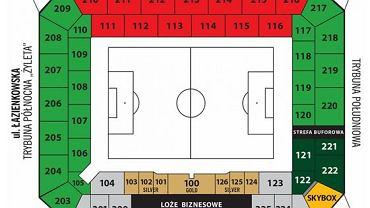 Mapa stadionu Legii