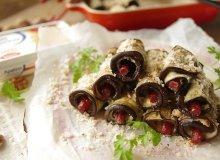 Bakłażan w roladkach z serkiem i kabanosami - ugotuj
