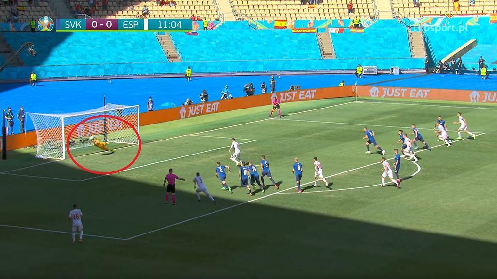 Alvaro Morata marnuje rzut karny w meczu ze Słowacją. Euro2020. Źródło: Transmisja TVP SPORT