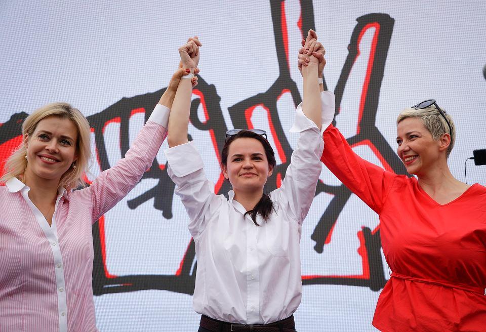 19.07.2020, Mińsk, na zdjęciu od lewej: Weronika Cepkało, Swiatłana Cichanouska i Maria Kolesnikowa.