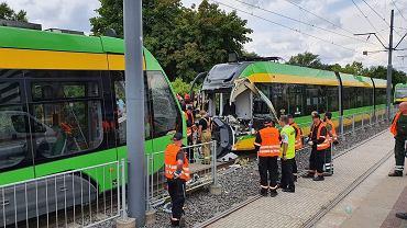 Zderzenie dwóch tramwajów w Poznaniu. Rannych zostało 31 osób