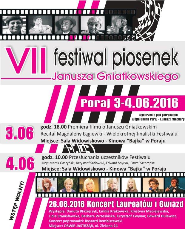 VII Festiwal Piosenek Janusza Gniatkowskiego w Poraju / mat.pras.