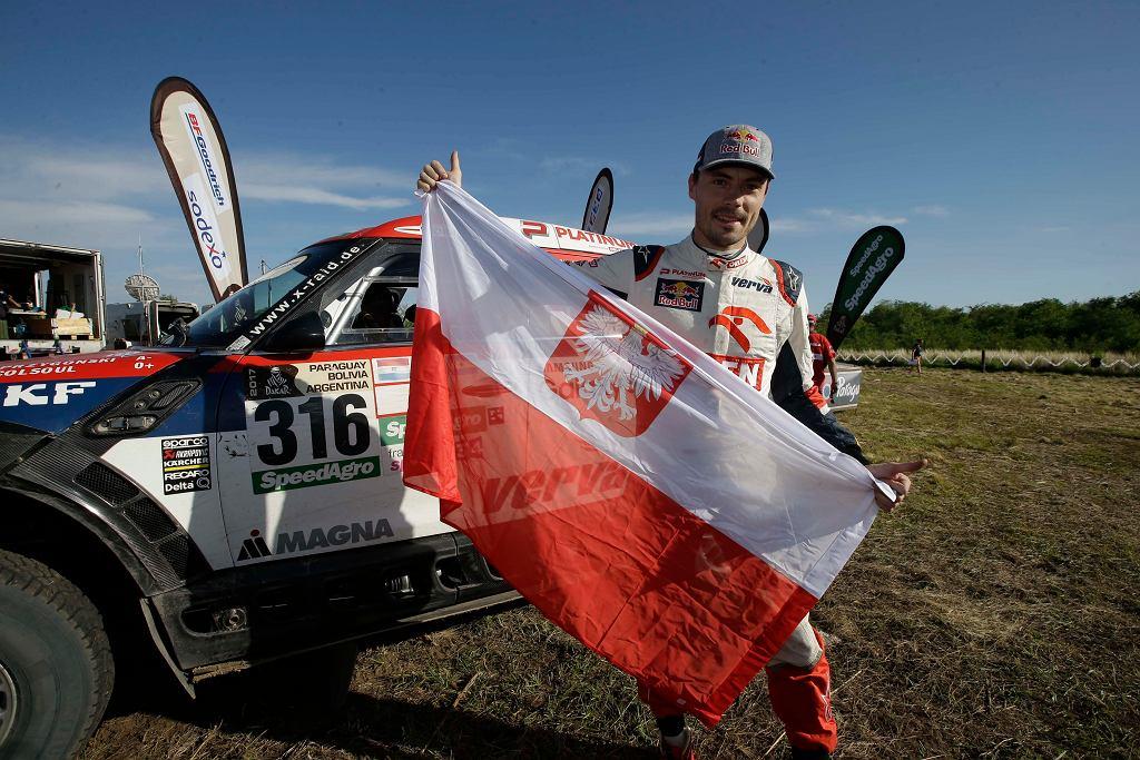Jakub Przygoński na mecie Rajdu Dakar
