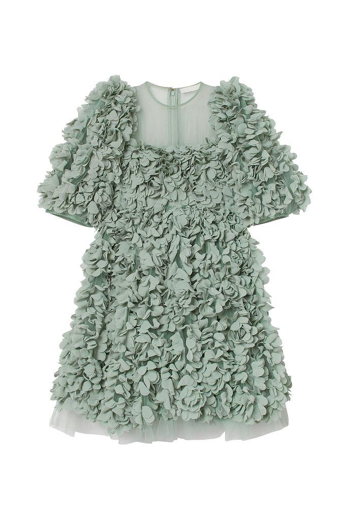 Sukienka z naszytymi kwiatami H&M Conscious Exclusive AW 2020